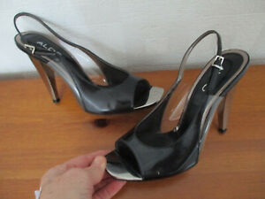 ALDO black leather peep toe ladies court shoes with silver heel U.K. 5 (EUR38)