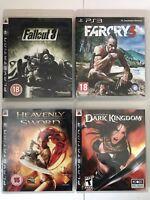 PS3 Game Bundle - Dark Kingdom + Heavenly Sword + FarCry 3 + Fallout 3 - (746)