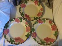"Set of 3 Franciscan Desert Rose Dinner Plates 10 5/8"" Wide"