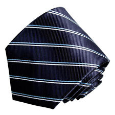 Men's navy and light blue and white  striped  woven  tie
