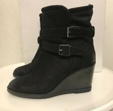 Kurt Geiger Black Wedge Soft Fur Lined Ankle Boots New Size 6 (39) In box