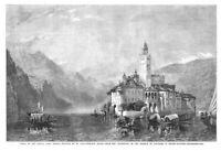 ITALY ISOLA DI SAN GIULIO Lake Orta by W Collingwood - Antique Print 1858