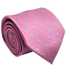 Men Silk Tie Set Pink Blue Polka Dot With Matching Pocket Square Necktie Set
