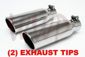"2 Polished Stainless Bolt On Angle Roll Exhaust Tip 2.25""Inlet 3.5""Outlet 12""Lng"
