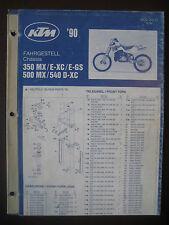 KTM 1990 Part Number Diagram Poster CHASSIS 350 MX E-XC E-GS 500 540 D-XC Manual