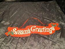 Holiday Season's Greeting Wood Hanging Christmas Plaque