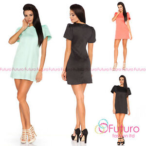 Ladies Casual Mini Dress Puffy Short Sleeve Crew Neck A-line Sizes 8-10 UK FA391