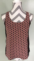 ANN TAYLOR LOFT Mauve Black Polka Dot Lace Sleeveless Blouse Top Sz XS P Petite
