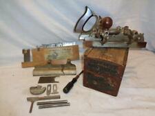 Antique Stanley No. 45 Combination Vintage Plane w/ Wooden Box, Cutters & more