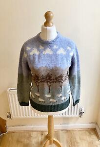 Vintage Westmorland Knitwear Pure Wool Sheep Print Jumper Size 36 UK 8 Retro