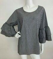 Women's New Plus 1X Gray White Ruffle Sleeve Peasant Blouse Top Shirt Tunic NWT