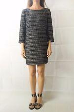 Women's THURLEY Dress Black Stripe Boucle ¾ Sleeve Shift Size 14
