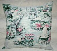 Vintage Victorian Park Flowers Cart Cotton Barkcloth Large Throw Pillow Sham