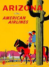 Arizona Cowboys Vintage United States Amerca Travel Advertisement Art Poster