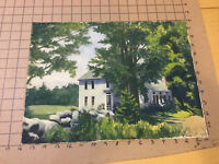 Original Vintage Painting -- house & trees, very well done, undated by CARLISLE