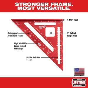 """Milwaukee Rafter Square Tool 1-6"""" Scribe Notches 1"""" Cutout 7"""" Reinforced Frame"""
