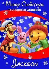 personalised Christmas card Winnie the pooh and friends Any name/relation
