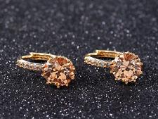Woman Gold Plated Earrings Cubic Zirconia Crystal Champagne Stud Hoop Earrings