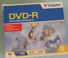 Verbatim DVD-R Recordable Disc with Jewel cases 4.7GB 120min, up to 8x - 5 pk