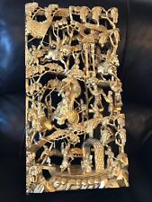 Antique Chinese Gilt Wood wall Figurine Carving Panel Gold pre quin dynasty nr