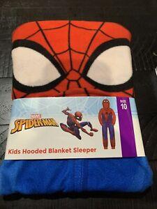 Spider-Man  Kids Hooded Blanket Sleeper, Red BLUE, Size 10