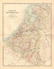1891 ANTIQUE MAP - BELGIUM AND THE NETHERLANDS