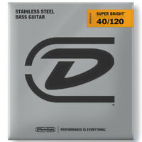 Dunlop Super Bright Stainless Steel 5-String Bass Strings, Light (40-120)