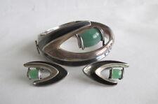 Vtg Sigi Pineda Modernist Sterling Chrysoprase Bracelet & Earrings Taxco Mexico