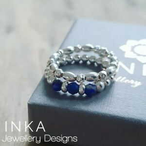INKA Sterling Silver stacking Stretch Ring Thumb rings set of 2 with Lapiz