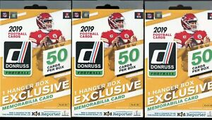 (Lot of 3) 2019 Donruss Football Hanger Boxes with Exclusive Memorabilia Card!