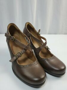 Clarks Brown $140.00 Indigo Flyrt Rouge Mary Jane Oxford Leather Heels Shoes 10M