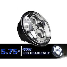 "5-3/4"" 5.75"" White LED Projector Light Bulb Headlight Chrome Crystal Clear Each"