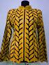 Yellow Woman Leather Coat Women Jacket Zipper Short Collar All Size Light D4