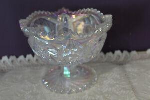 L E SMIITH WHITE CARNIVAL GLASS AZTEC IRIDESCENT SCALLOPED EDGE COMPOTE