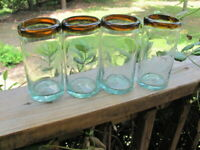 Mexican Glass~Tumblers~Amber Rim~Four
