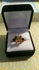 925 Silver Vintage `Multi-Coloured Amber Ring Size M