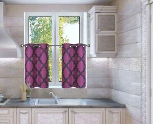 "2PC SET Geometric Blackout Lined Window Curtain Grommet Panel/MOZA 36"" LONG"