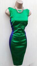 UK 12 Karen Millen Emerald Green Cobalt Blue Panel Satin Evening Pencil Dress