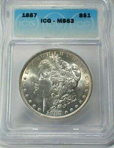 1887 USA Morgan Silver Dollar ICG MS63 Condition KM# 110  (731)