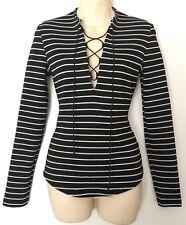 BEC & BRIDGE Black White Stripe Top Size 8 #12271
