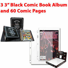 """(3) BCW 3"""" Black Collector Album Binder & (60) PRO Comic Book Pages"""