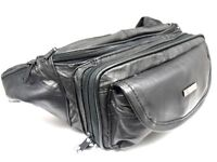 NEW BLACK SUPER SOFT LEATHER LARGE SIZE BUM BAG MONEY BELT HOLIDAY TRAVEL WALLET