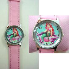 Princess Ariel Little Mermaid Girl Child Fashion Wrist Watch Wristwatch + Badge