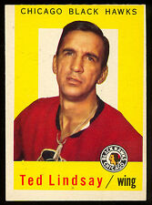 1959 60 TOPPS HOCKEY #6 TED LINDSAY EX-NM CHICAGO BLACK HAWKS DETROIT RED WINGS