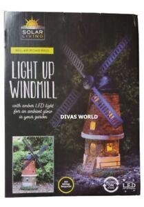 Solar Powered Light Up Windmill Amber LED Light Outdoor Garden Decorations NEW