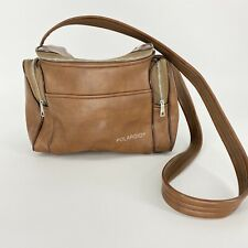 Vintage Polaroid Camera Case Brown Faux Leather Bag Carrying Case Strap Pockets