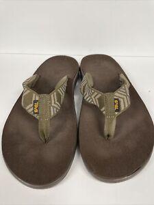 TEVA Green Tan Flip Flop Thong Sandals Men's Size 13 Lots Of Sole Left