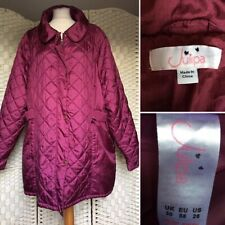 Julipa Zip Up Poppers Quilted Maroon Jacket Pockets - Plus Size 30 Lovely Con