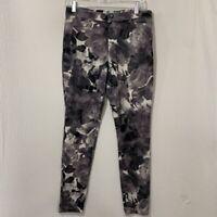 Hue Womens Slim Skinny Jeans Gray Black White Floral Roses Zipper Fly Stretch M