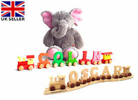 QUALITY WOODEN PERSONALISED NAME COLOUR TRAIN ALPHABET LETTERS BABY CHRISTENING